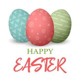 Happy Easter. Easter red and green and blue doodle decorated eggs.  illustration. Royalty Free Stock Photos