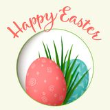Happy Easter. Easter red and green eggs with abstract simple ornaments in round photo frame. vector illustration. Happy Easter. Easter red and green eggs with Stock Image