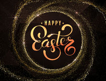 Happy Easter Red modern Background. Modern luxury Vector creative design template. Modern Premium illustration. Black colour square background with golden Happy Stock Photography