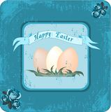 Happy Easter retro. Illustration of retro easter postcard with old paper background Stock Photos