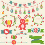 Happy Easter! Retro design elements. Vector set. Happy Easter! Set of retro decorations isolated on light background. Collection of cute elements for Royalty Free Stock Photography