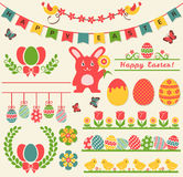Happy Easter! Retro design elements. Vector set. Happy Easter! Set of retro decorations isolated on light background. Collection of cute elements for Stock Photo