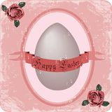 Happy Easter retro postcard. Illustration of retro easter postcard with old paper background Royalty Free Stock Images