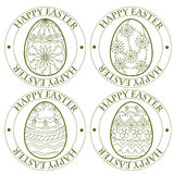 Happy Easter retro stamp with eggs Stock Image