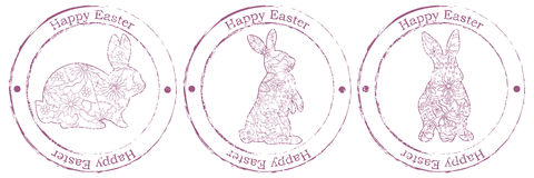 Happy Easter retro stamp with rabbits Royalty Free Stock Photography
