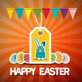Happy Easter Retro Vector Card with Bunny Stock Image
