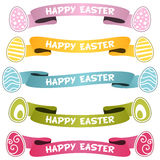 Happy Easter Ribbons or Banners Set Stock Photo