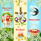 Happy Easter, He is Risen festive banner set. Happy Easter, He is Risen festive banner. Easter egg hunt basket, Easter cake with decorated eggs, cross with Royalty Free Stock Photos