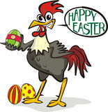 Happy easter - rooster and painting eggs Royalty Free Stock Photo