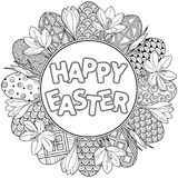 Happy Easter. Round frame of Black and White Doodle Easter Eggs and crocuses Coloring book for adults for relax and meditation. Ve Stock Photography