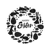 Happy Easter. Round frame with cute Easter bunnies, daffodils and willow twigs. Greeting card or invitation. Royalty Free Stock Photography