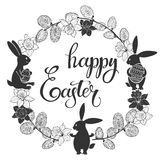 Happy Easter. Round frame with cute Easter bunnies, daffodils and willow twigs. Greeting card or invitation. Stock Image