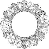 Happy easter. Round Vignette of Black and White Doodle Easter Eggs and Crocuses. Coloring book for adults for relax and meditation. Round Vignette of Black and Royalty Free Stock Photo