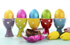 Happy Easter row of chocolate eggs Royalty Free Stock Photography