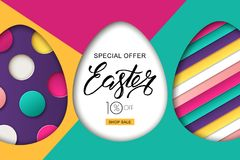 Happy Easter sale banner. Design for holiday flyer, poster, greeting card, party invitation. Vector illustration. Happy Easter sale banner. Colorful Easter eggs Stock Images
