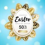 Happy Easter sale banner eggs around stock illustration