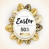 Happy Easter sale banner eggs around white vector illustration