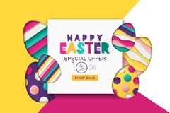Easter  sale banner. Decoration paper cut eggs. Design for holiday flyer, poster, greeting card, party invitation. Happy Easter  sale banner. Multicolor Easter Stock Images