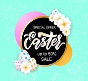 Happy Easter sale banner template with beautiful colorful spring flowers and eggs on blue background. Vector stock illustration