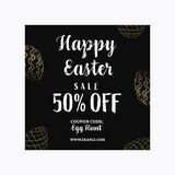 Happy Easter sale banner template with Golden glitter eggs. stock photography