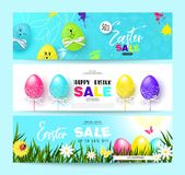 Happy Easter Sale Horizontal Banners Set with colorful eggs. Vector Illustration. Season sale. Concept for web banners and promoti. Onal materials Stock Image