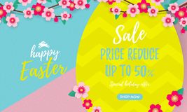 Free Happy Easter Sale Poster With Paper Cut Easter Egg And Cherry Flowers Or Apple Tree Spring Blossom Design On Bright Yellow, Blue A Stock Photo - 110385330