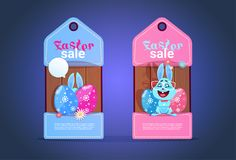 Happy Easter Sale Tags With Cute Bunny And Colofrul Eggs Seasonal Discount Concept. Flat Vector Illustration Stock Photography