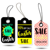 Happy Easter sale tags. Holiday labels set. Stock Image