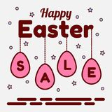 Happy Easter sale theme. Pendants of pink eggs with letters. Stars and candy in the background. Can be used as a Stock Images
