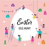 Happy Easter banner with families and kids. Happy Easter scene with families, kids. Easter street event, festival and fair, banner, poster design Royalty Free Stock Photography