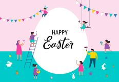 Happy Easter banner with families and kids. Happy Easter scene with families, kids. Easter street event, festival and fair, banner, poster design Stock Images