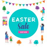 Happy Easter scene with families, kids. Easter street event, festival and fair design. Happy Easter scene with families, kids. Easter street event, festival and Royalty Free Stock Images