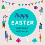Happy Easter scene with families, kids. Easter street event, festival and fair design. Happy Easter scene with families, kids. Easter street event, festival and Stock Image
