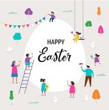 Happy Easter banner with families and kids. Happy Easter scene with families, kids. Easter street event, festival and fair, banner, poster design Stock Photos