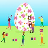 Happy Easter scene with tiny people stock illustration