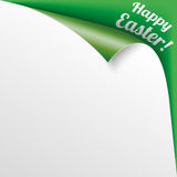 Happy Easter Scrolled Corner Green Paper Cover Royalty Free Stock Photography