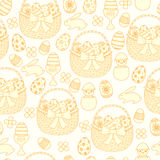 Happy Easter seamless background. Baskets, eggs, rabbits. Easter basket with eggs, a chicken and coloured eggs. The hand drawn style vector illustration