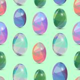 Happy Easter seamless background. 3d Eggs with the abstract, triangle pattern. Happy Easter seamless background. 3d Eggs with the abstract, triangle patterns stock illustration