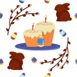 Happy Easter Seamless Pattern with Cake Stock Photography