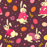 Happy Easter seamless pattern with cute bunnies. And eggs. Vector illustration Royalty Free Stock Photos