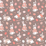 Happy Easter seamless pattern with cute bunnies Stock Image