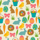 Happy Easter seamless pattern with decorative objects. Background can be used for holiday prints, textiles and greeting Royalty Free Stock Photography