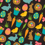 Happy Easter seamless pattern with decorative objects. Background can be used for holiday prints, textiles and greeting Stock Photo