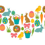 Happy Easter seamless pattern with decorative objects. Background can be used for holiday prints, textiles and greeting Stock Image