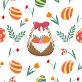 Happy Easter Seamless Pattern with Easter Eggs Royalty Free Stock Photos