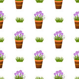 Happy Easter Seamless Pattern. Flat Icons Spring Holiday Concept Stock Image