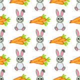 Happy Easter Seamless Pattern. Flat Icons Spring Holiday Concept Stock Images