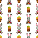 Happy Easter Seamless Pattern. Flat Icons Spring Holiday Concept Stock Photos