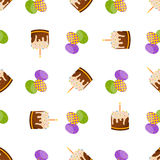 Happy Easter Seamless Pattern. Flat Icons Spring Holiday Concept Stock Photography