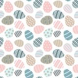 Happy Easter greeting seamless pattern with decorated painted Easter eggs. Happy Easter seamless pattern greeting card with decorated painted Easter eggs. Vector royalty free illustration